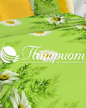 КПБ 1.5 спальный Ромашки, зеленый, набивная бязь 125 гм2 1480-1