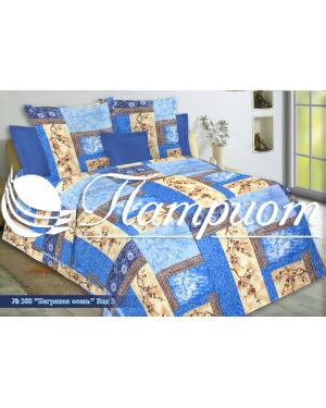 КПБ 1.5 спальный Багряная осень, синий, набивная бязь 142 гм2 388-3
