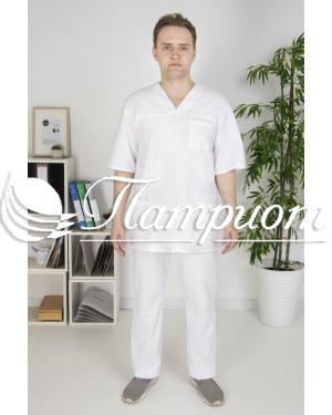 Костюм хирурга универсальный белый ткань бязь ГОСТ Модель 1